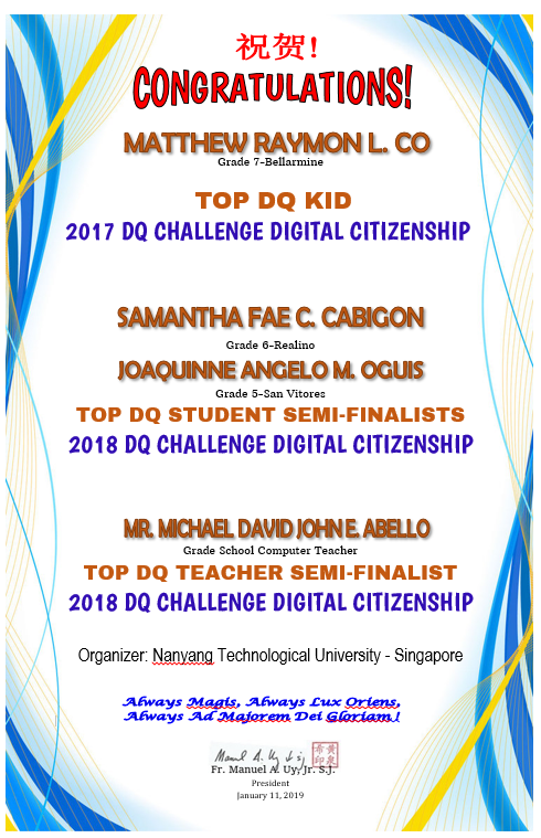 2017 DQ Challenge Digital Citizenship & 2018 SEMI-FINALISTS