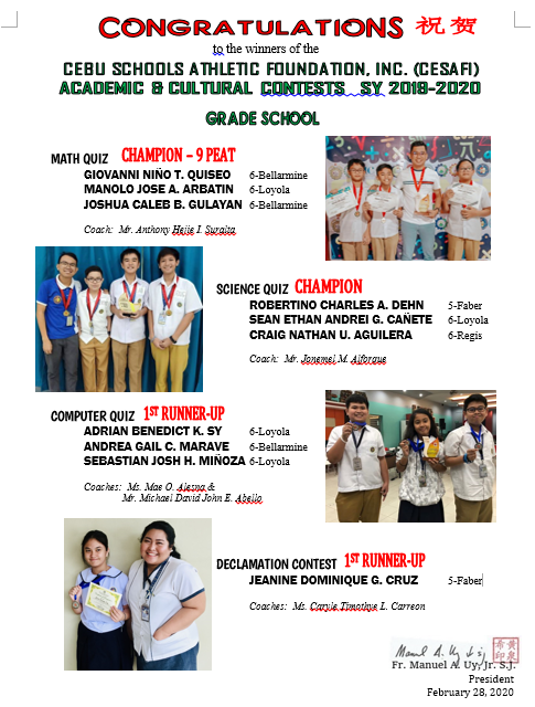 CESAFI Contests GRADE SCHOOL 2019-2020