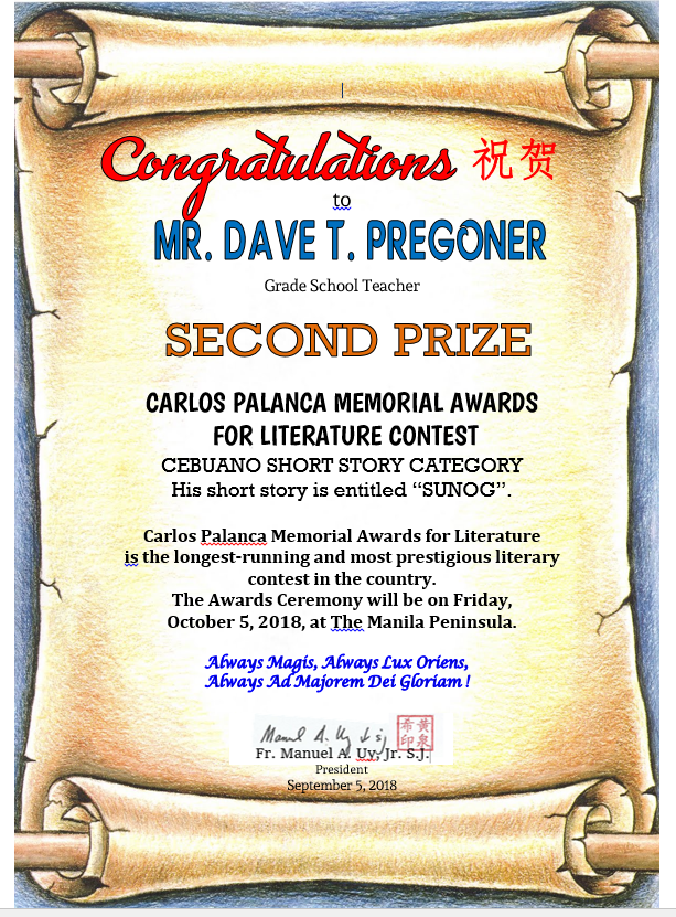Dave Pregoner Carlos Palanca Memorial Awards Second Prize