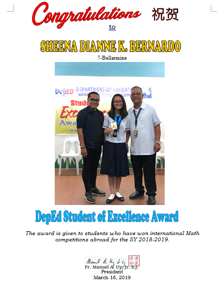 DepEd Student of Excellence Award SY 2018-2019