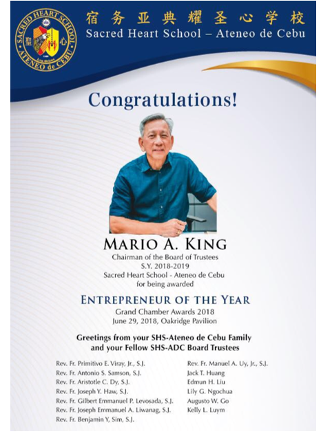 Mario King Entrepreneur of the Year