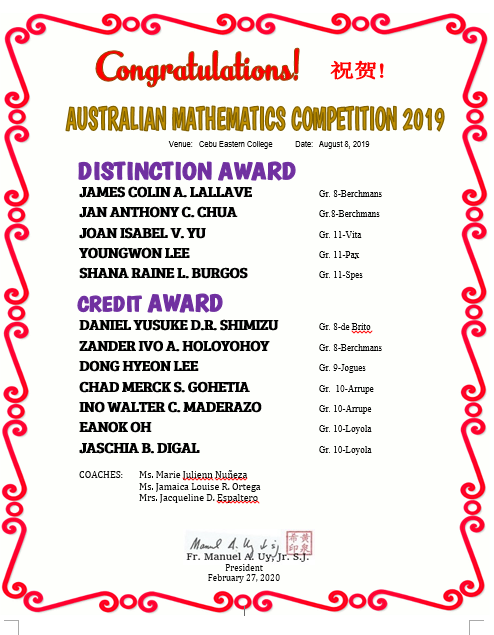 Mathematics Australian Competition 2019
