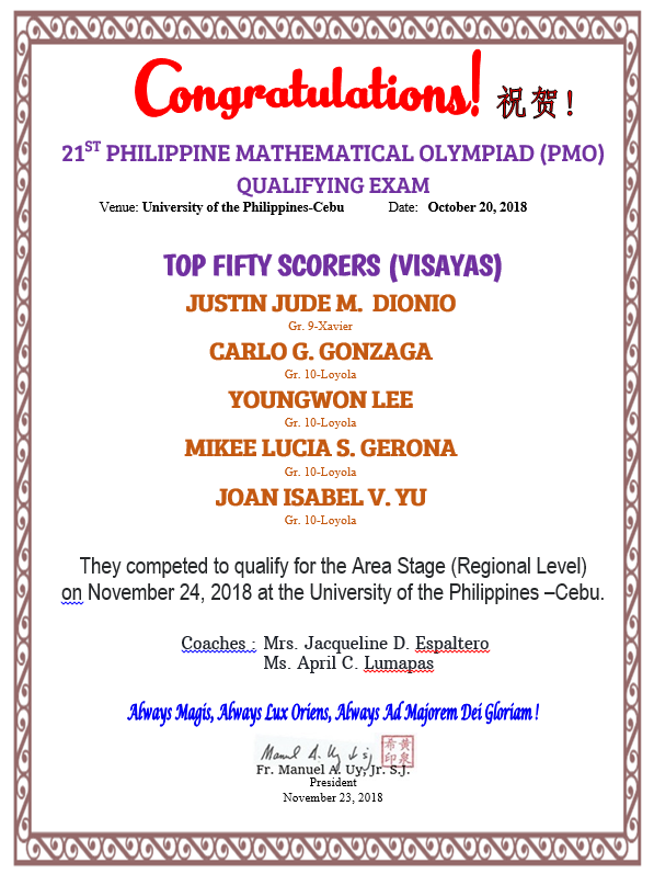 Mathematics PMO Area Stage Qualifiers 2018