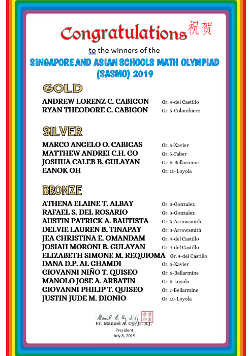 Mathematics - Singapore and Asian Schools Math Olympiad  2019 (SASMO)