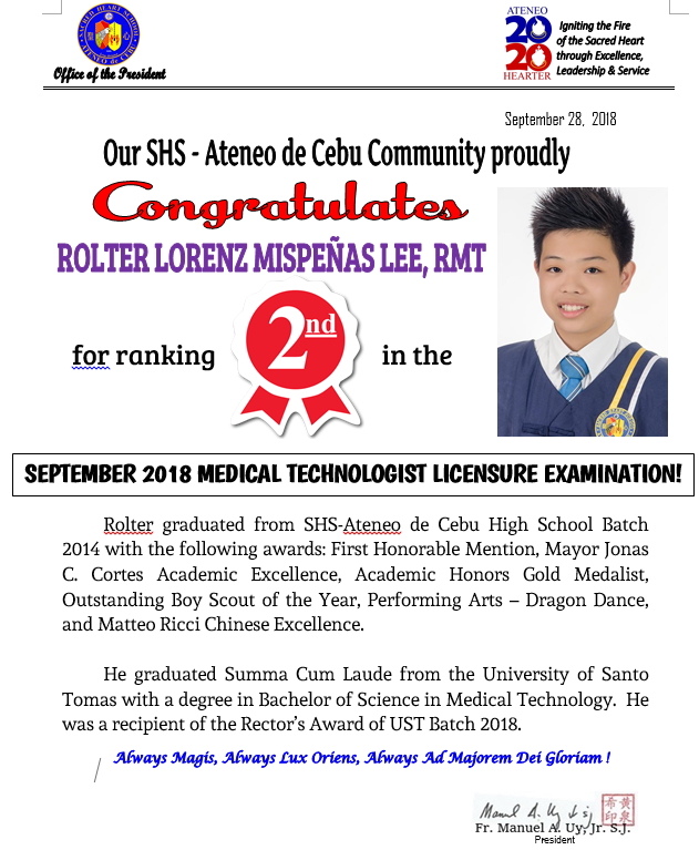 Medical Technologist Board Exam September 2018 Rolter Lee
