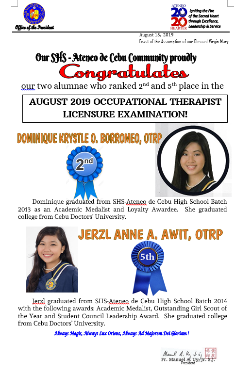 Occupational Therapist Licensure Exam August 2019 -Dominique Borrome & Jerzl Awit