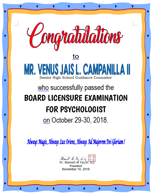 Psychologist Board Licensure Exam 2018