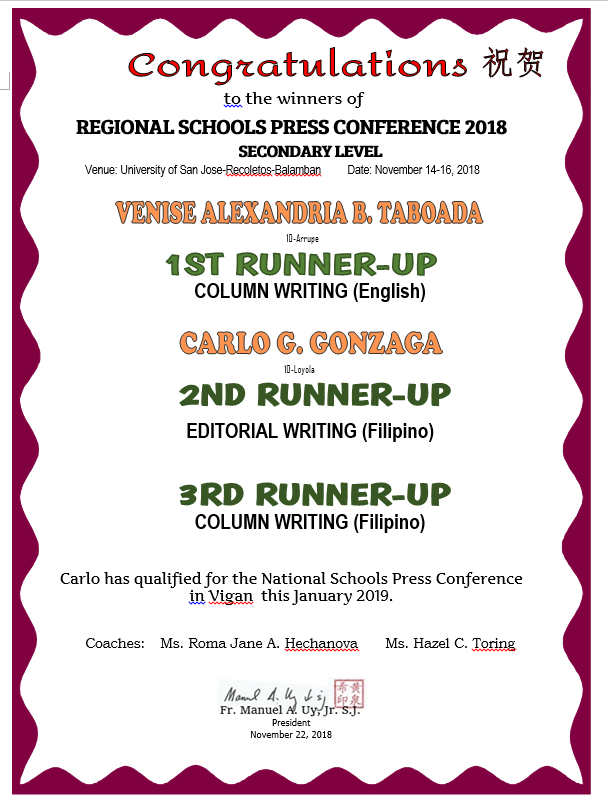 Regional SECONDARY Schools Press Conference 2018