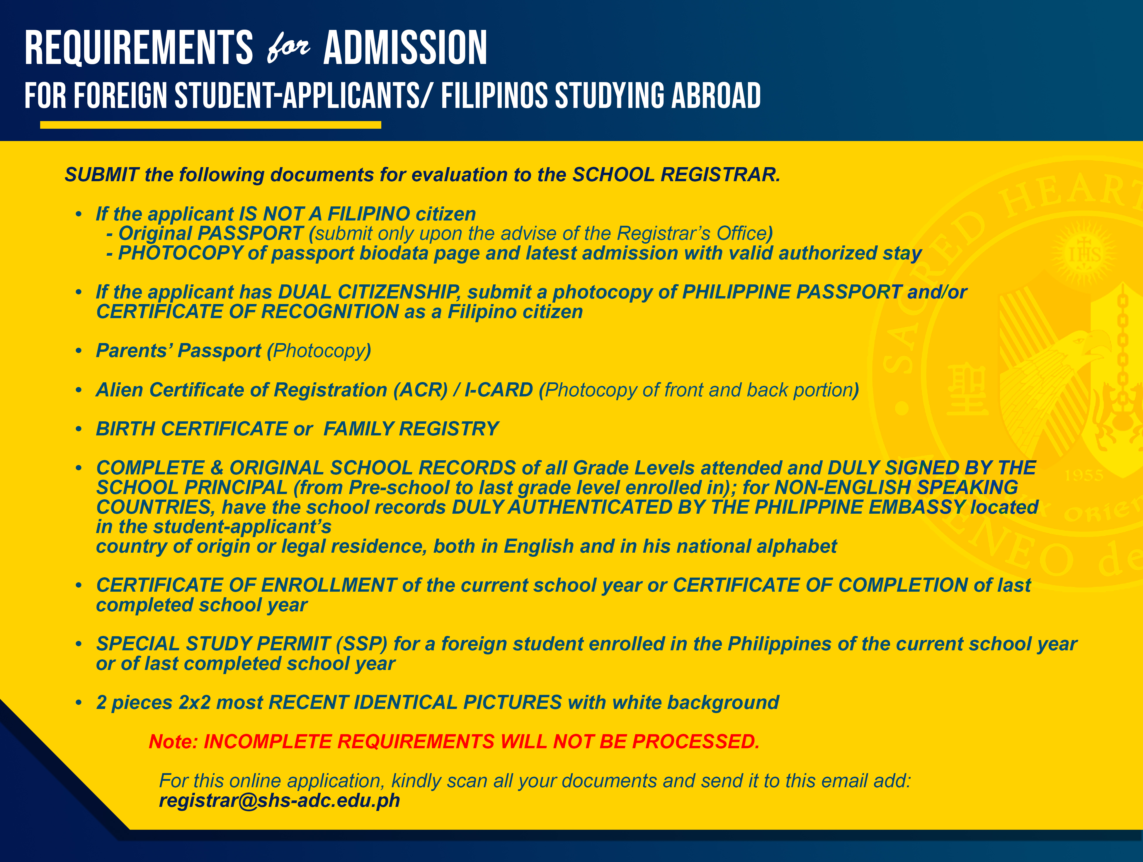 Requirements for admission FOreign applicants