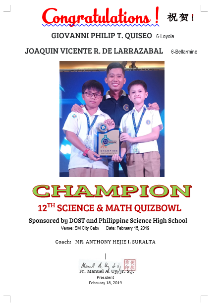 Science and Math Quiz Bowl 2019