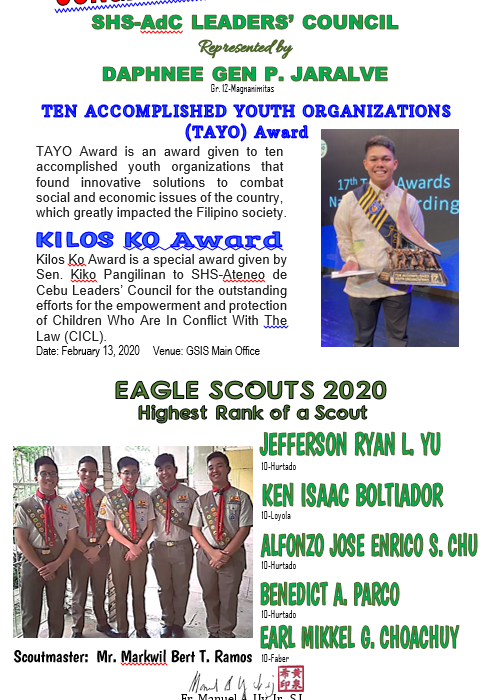 Scouts TAYO and Kilos Ko Awards 2020 and EAGLE SCOUTS
