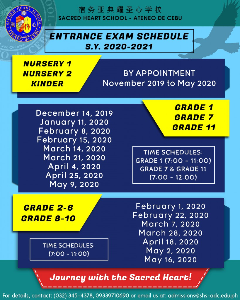 Exam Schedules for SY 2020-2021